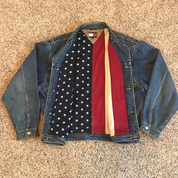 82740cc0430 Tommy Hilfiger American Flag Jean Denim jacket. M 5b3d27bc5c4452f281a33c4f.  Other Jackets   Coats ...